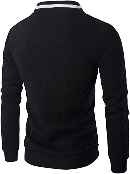 Abetteric Men Solid Plaid Zip Stand Collar Stitching Stylish Activewear Sweatshirt