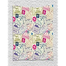 Traveller Decor Tapestry by Ambesonne, Passport Visa Stamps Illustration Toronto Hong Kong Berlin Print, Wall Hanging for Bedroom Living Room Dorm, 40WX60L Inches, Egg Shell and Pink