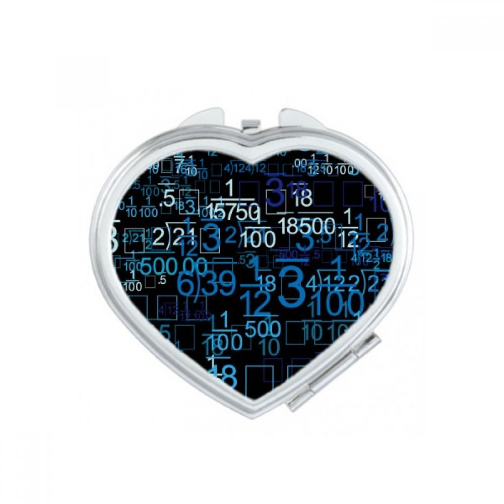 Digital Score Decimal Blue Illustration of Science And Technology Heart Compact Makeup Pocket Mirror Portable Cute Small Hand Mirrors Gift