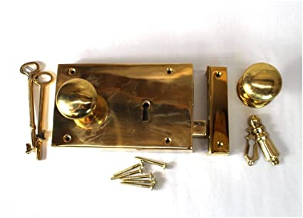 Solid Brass Colonial Georgian Rim Lock Box Lock Surface Mounted Antique  Replica RIGHT Hand - Solid Brass Colonial Georgian Rim Lock Box Lock Surface Mounted
