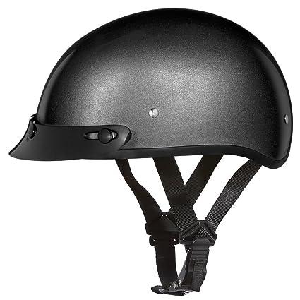 Amazon.com  D.O.T. DAYTONA SKULL CAP- GUN METAL GREY METALLIC ... 6fdcd0a82c3
