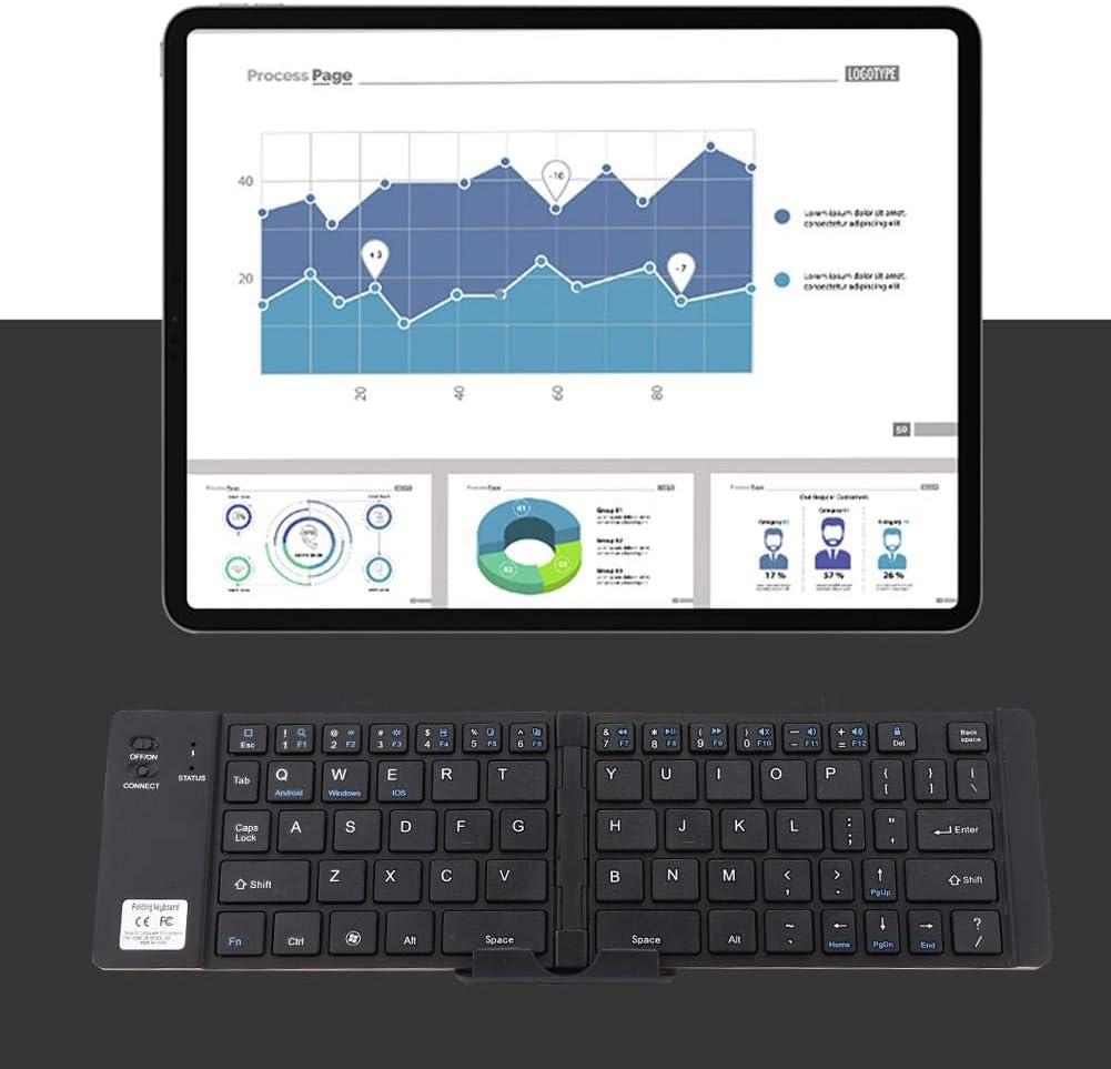 Foldable Mini Wireless Bluetooth Keyboard Universal Portable Ultra-Slim Multi-Functional Bluetooth Keyboard for Phone Tablet PC Silver