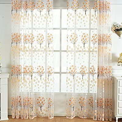 Aside Bside Countryside Sheer Exquisite Flower Print Window Curtains Burnt-Out Design Rod Pocket Top Tulle Panels for Living Room & Bedroom