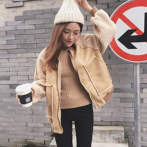 Winter Female Jacket Sleeve Leather Coat Retro apricot Xuanku Thick Cotton Coat Coat Stitching Warm Lantern UfZAqndw