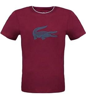 Lacoste Crew Neck - Camiseta Rojo oscuro 507. L: Amazon.es: Ropa y accesorios