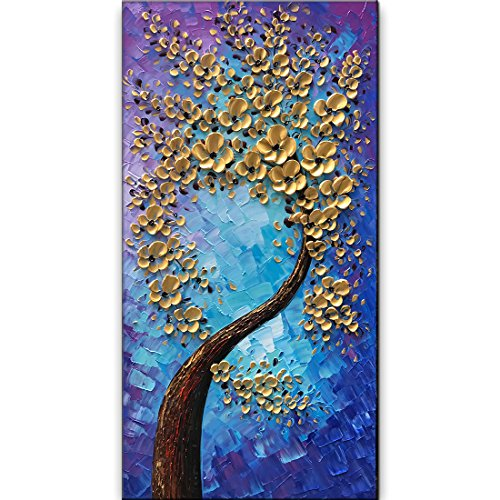 baccow -- 3D Blossom Trees Handmade Abstract Wall Art Landscape Oil Paintings Canvas with Frames for Bedroom Kitchen Living Room Office (Art Abstract Oil Paintings Canvas)