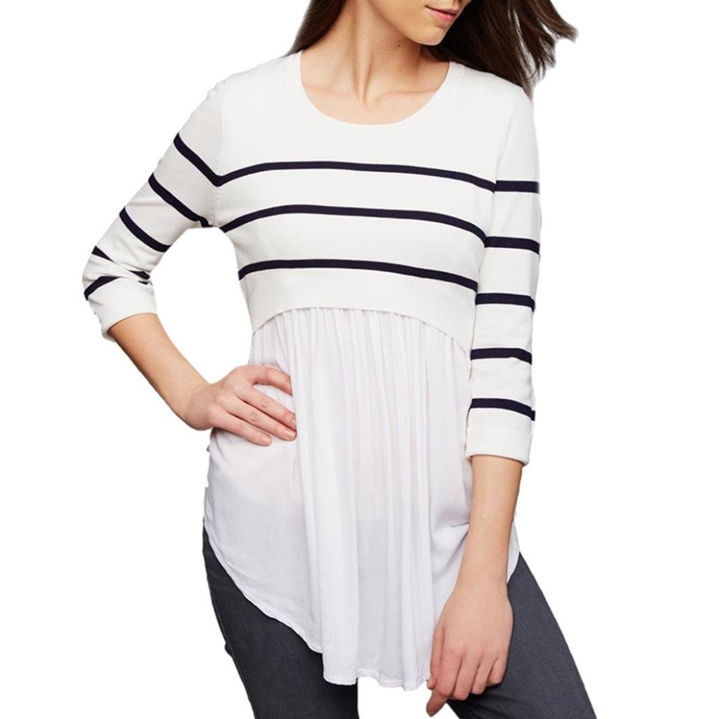 Women Maternity Nursing Wrap Tops Franterd Long Sleeved Striped Blouse for All Stages of Pregnancy
