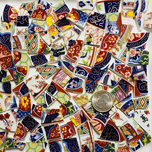 Mosaic Art and Craft Supply Colorful Oriental Tiles with Gold T A129]()