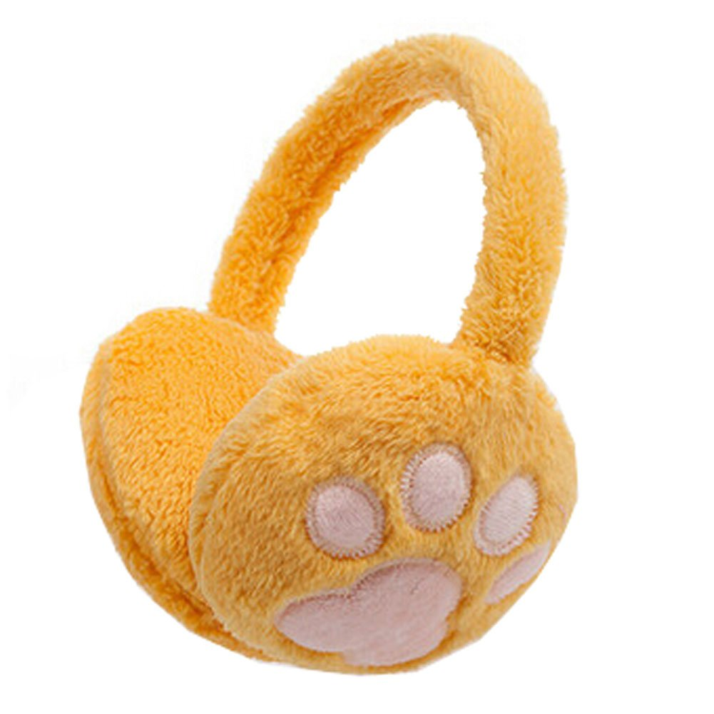Cute Paw Super Soft Earmuffs Winter Earmuffs Ear Warmers, Yellow KE-CLO2474962011-JELLY01760