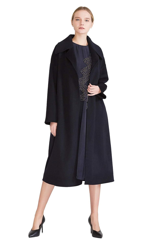 VOA Navy bluee Blazer Collar Long Women's DoubleFaced Cashmere Coats S602