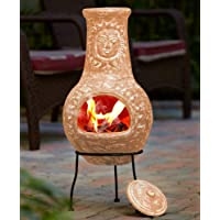 Fire Pit Terra Cotta Rustic Sun Face Outdoor Clay Chiminea Patio with Cover Lid