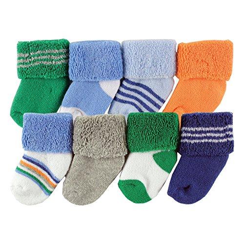 (Luvable Friends Unisex 8 Pack Newborn Socks, Blue Stripe, 0-6 Months)