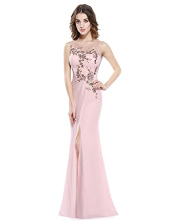 Ever Pretty Damen Elegant Ärmellos Pailetten Lang Abendkleider 48 Größe Rosa b8f0ba4487