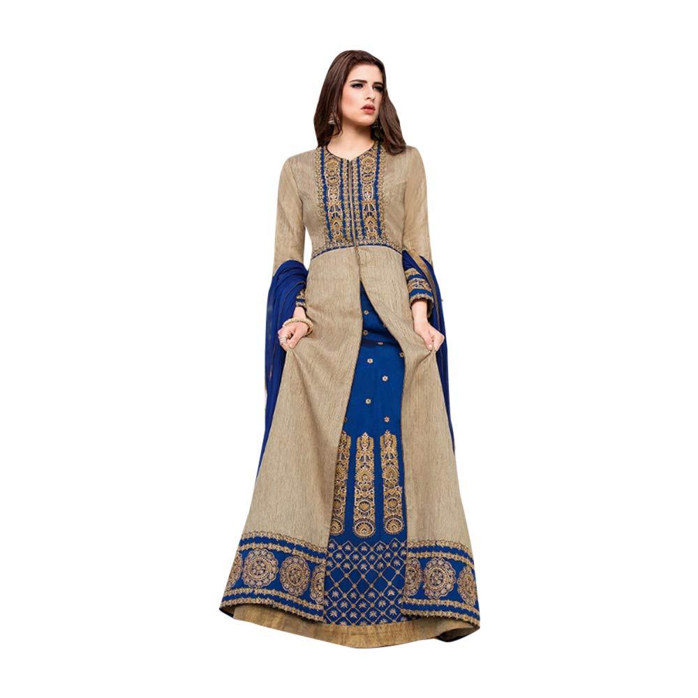 Amazon.com: Diseño frontal Split Tafeta de seda Anarkali ...