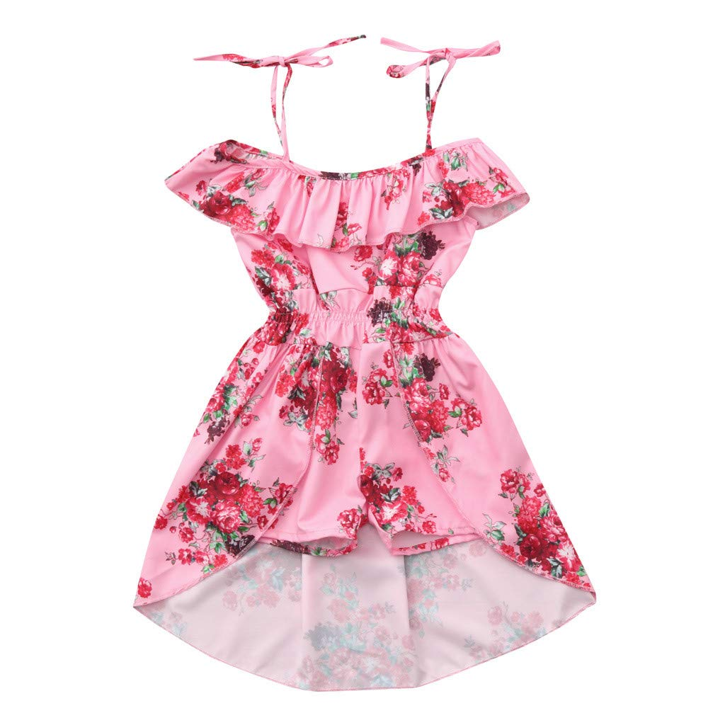Infant Summer Dresses for Girls,Toddler Baby Girls Off Shoulder Floral Print Ruffles Pantskirt Outfits Sets,Girls' Costumes,Multicolor,2-3T Pink by Dsood (Image #1)