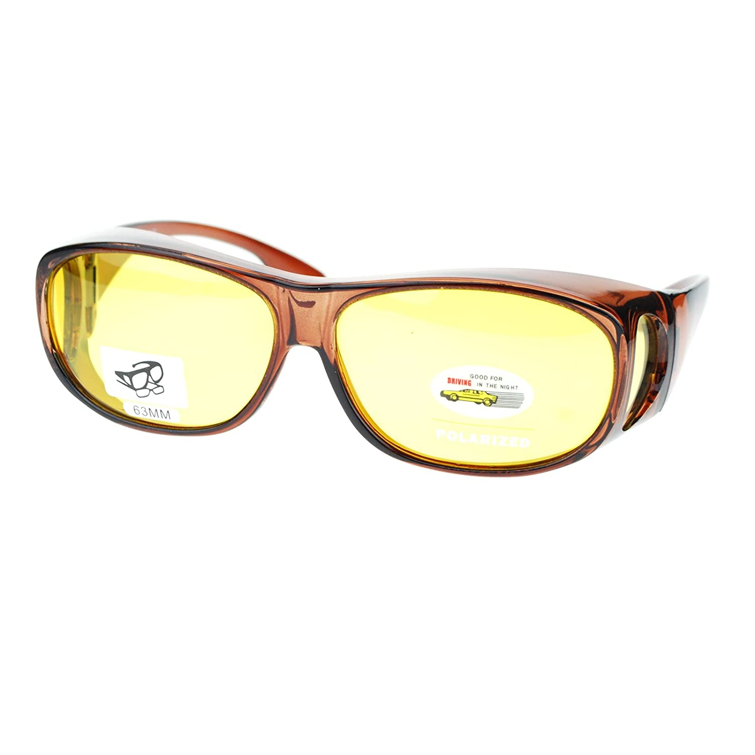 Unisex Polarized Yellow Night Driving Lens 63mm Fit Over Sunglasses p2865polnd-bk