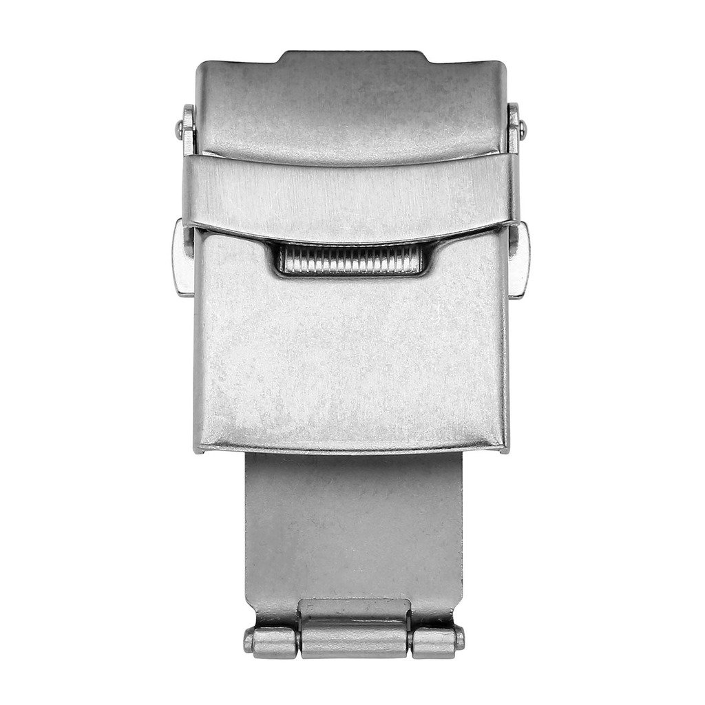 Top Plaza Stainless Steel Deployment Clasp - 20mm Silver Single Fold Over Clasp Deployant Buckle with Insurance Watchband Clasp for Leather/Metal Watch Band Strap by Top Plaza (Image #1)