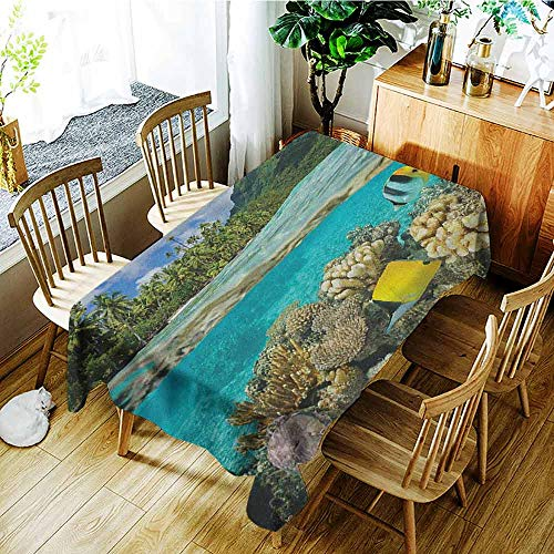 (XXANS Tablecloth,Island,Pacific Ocean French Polynesia Lagoon of Huahine Lush Shore with Corals and Fish,Fashions Rectangular,W52x70L Multicolor)