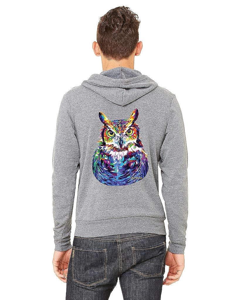 Mens Neon Owl Painting C9 Gray Fleece Zipper Hoodie Gray