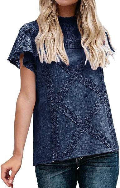 Camiseta de Mujer Elegante Blusa Camisero Lace Encaje Suelto ...