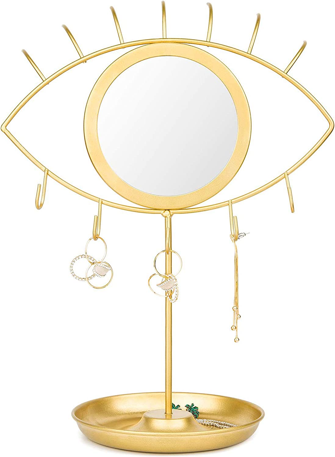 CoolXuan Makeup Mirror Eye Shaped Vanity Mirror with Jewelry Tray Earrings Holder Dresser Tabletop Detachable Cosmetic Mirror,Golden Boho Decorative