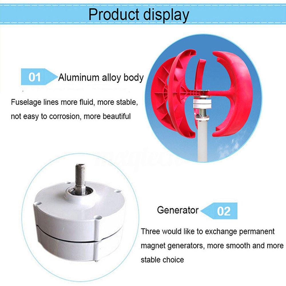 Lanterns Wind Turbine Generator Vertical Axis 5 Blades Kel Alternator Wiring Diagram 400w 12v Controller Set Garden Outdoor