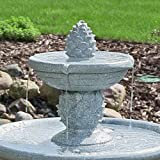 Sunnydaze Dual Pineapple Tiered Solar-on-Demand Fountain with LED Lights, 34 Inches Tall