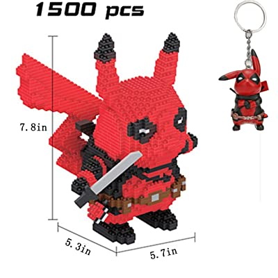 JINGz DIY 3D Pikachu Deadpool Micro Building Block Toy with a Deadpool Keychain: Toys & Games