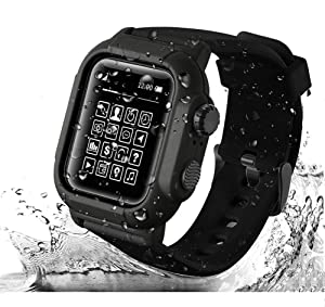 VOAGA Waterproof Case for Apple Watch 44mm Series 4/5, Apple Watch Sports Band IP68 Full Sealed Shockproof Cover for iWatch 44mm (Black)