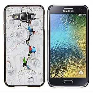 "Be-Star Único Patrón Plástico Duro Fundas Cover Cubre Hard Case Cover Para Samsung Galaxy E5 / SM-E500 ( Escribir mono Dibujo Infantil ilustraciones"" )"