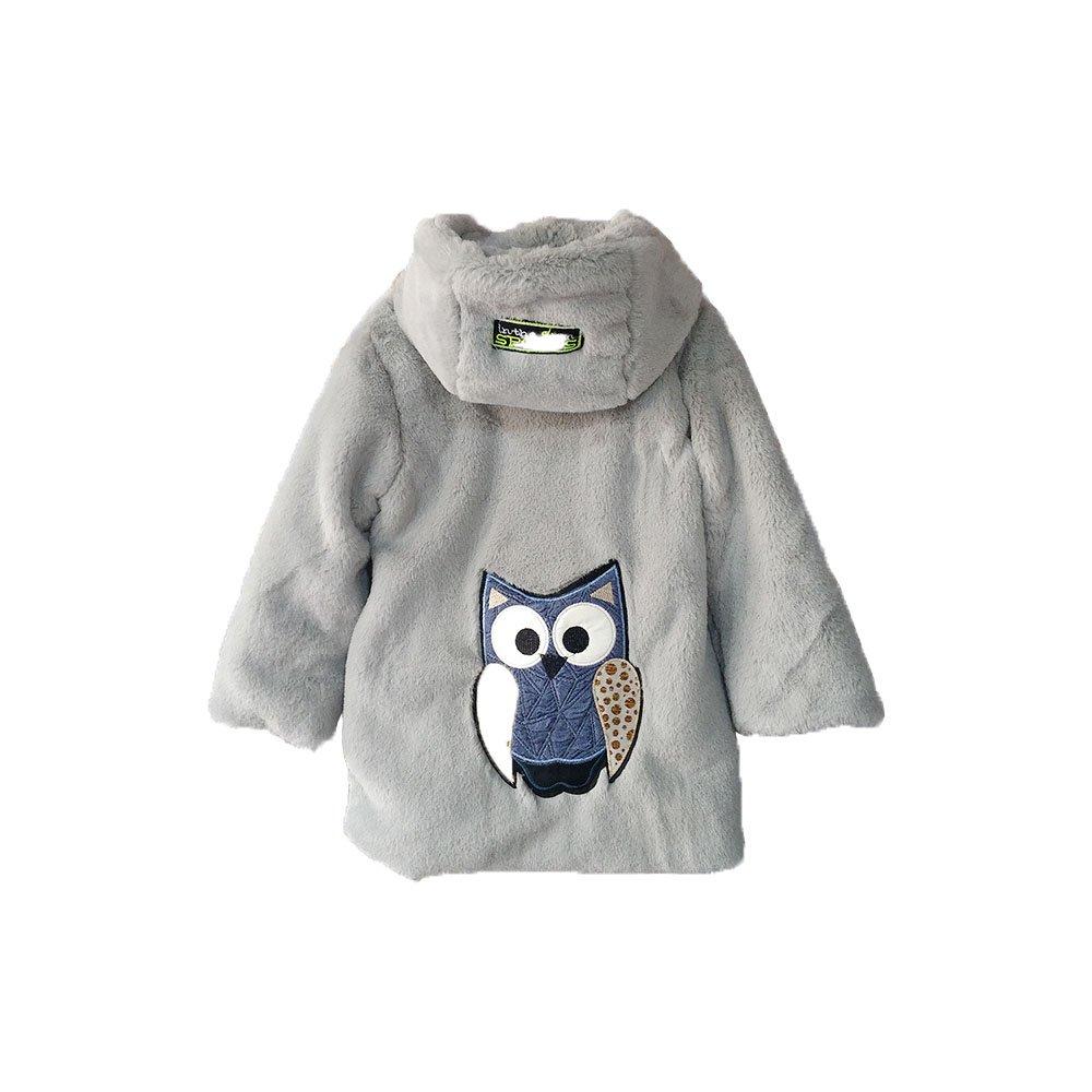 Star Flower Girl's Faux Fur Coat Owl Winter Fleece Jacket