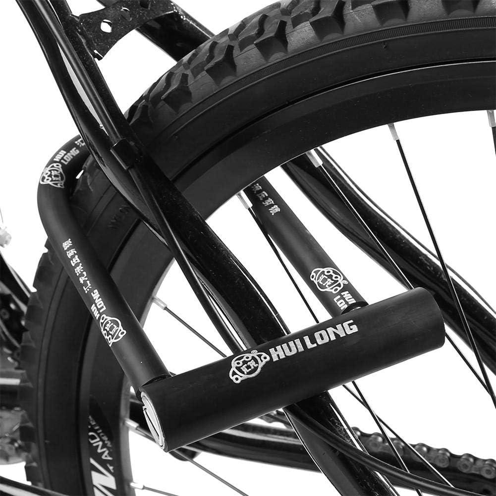 Tbest Candado de Bicicleta U,Bloqueo de Bicicleta U Impermeable a Prueba de Herrumbre Cerradura de Motocicleta Antirrobo de Acero Cerraduras de N/úcleo de Cobre Puro con Llave