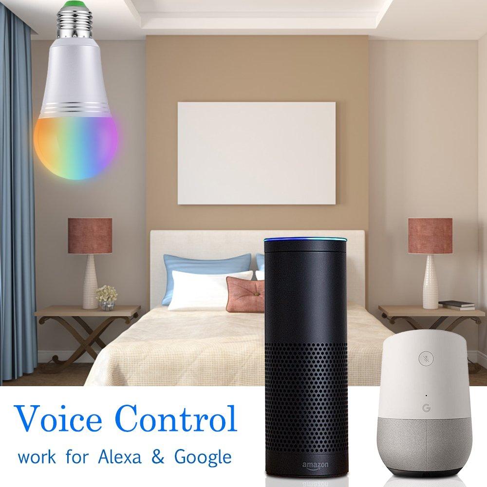 Ampoule LED Wifi Intelligente E27 Lampe Connectée Luminosité Réglable et Multicolore Dimmable Contrôlée par Smartphone/Google Home/Amazon Echo Alexa (7W)(E27, Lot de 2)
