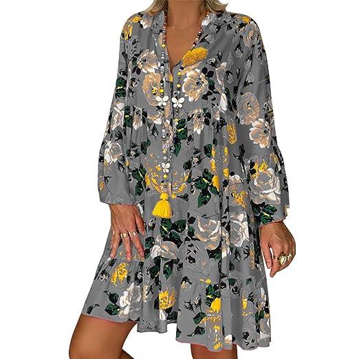 Amazon.com: 2019 New Women Loose Print Mini Dress,Plus Size Casual ...