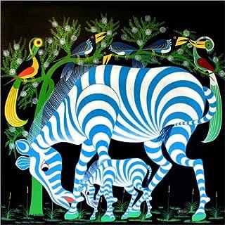 Posterlounge Stampa su PVC 120 x 120 cm: Blue Zebras at Night di Rafiki/Tanzania Art & Licensing