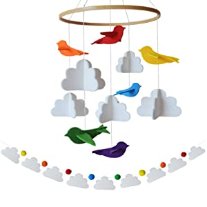 Baby Mobile by Sorrel + Fern -Rainbow Birds in The Clouds and Garland- Felt Nursery Ceiling Decoration for Girls & Boys