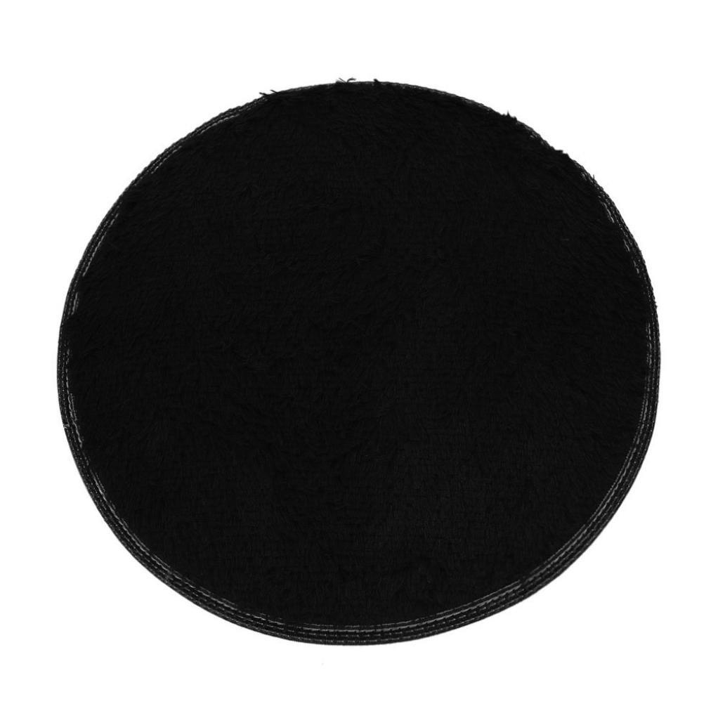 Perman Soft Bath Bedroom Floor Shower Round Mat Rug Non-slip Outdoor Indoor Kitchen Bathroom Home Decor Doormat 15.7'' (Black)