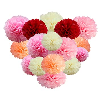 Paper Pom Poms Tissue Paper Pink Flowers Decorations For Wedding Ceremony Birthday Party Fiesta Nursery Decor 20 Pcs Of 14 10 8 6