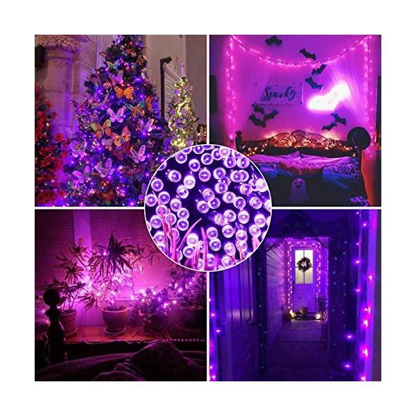 EPESL luci natalizie 22m 220 leds con 8 modalità di memoria end to end estensibile catene luminose esterni ed interni decorazione per giorno di natale alberi casa Halloween festa giardino - Viola 7 spesavip
