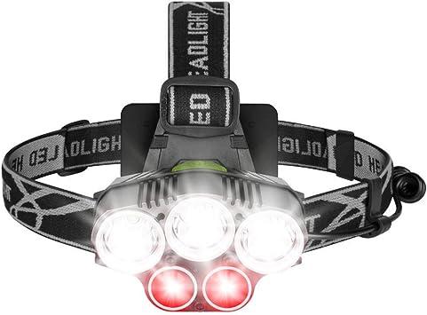 lampada frontale da Testa Ricaricabile,2400mAh Torcia LED Frontale,Faro USB Super Luminosa con 8 modalit/à,Torcia da Testa per Campeggio//Escursionismo,Mountain Bike,Pesca,Cantina,Corsa white