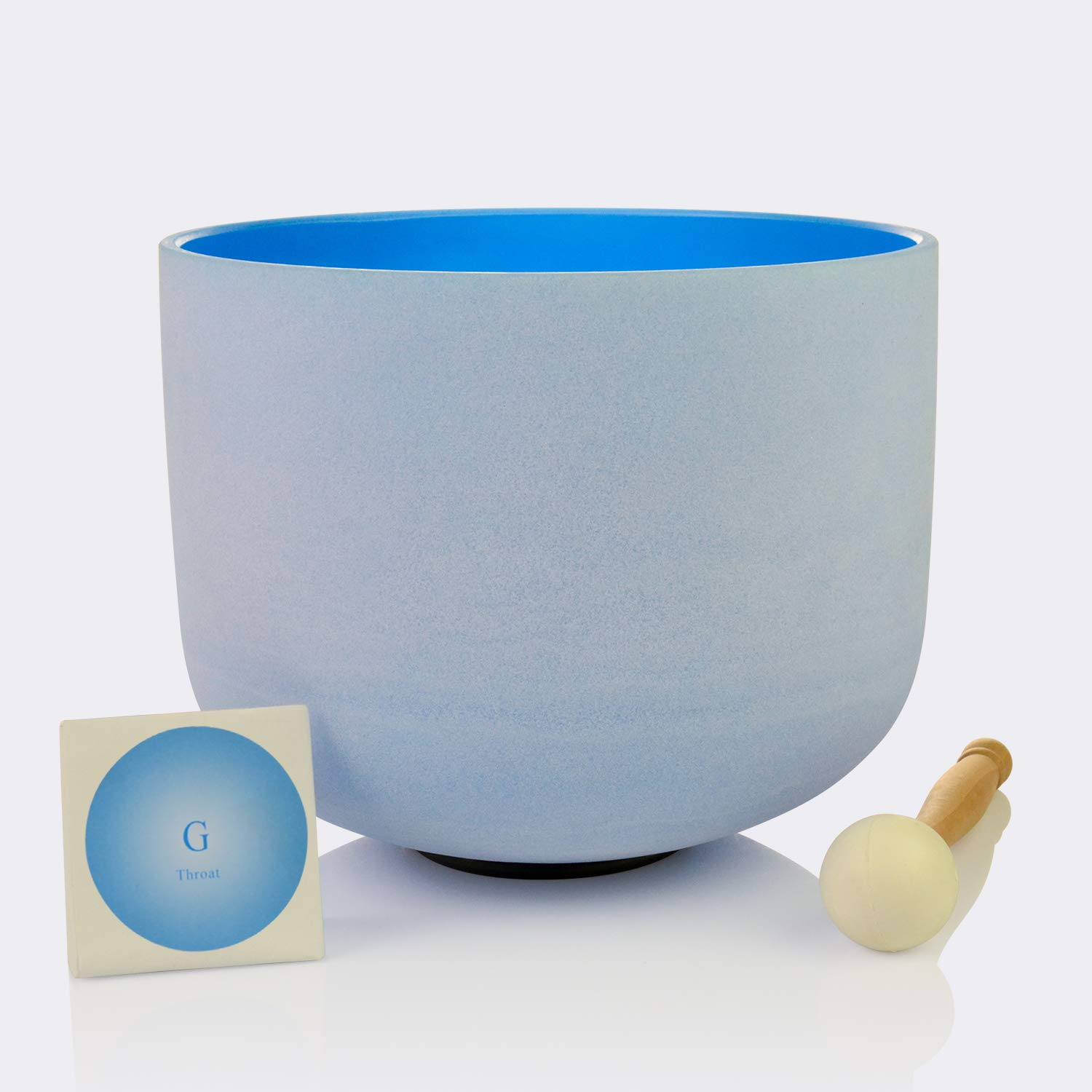 TOPFUND Blue Color G Throat Chakra Frosted Quartz Crystal Singing Bowl 10 Inch(O ring and rubber mallet Included)