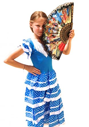 5cf6e1665a15 La Senorita Spanish Flamenco Dress - Girls/Kids - Blue White: Amazon.co.uk:  Clothing