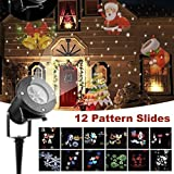 Christmas Projector Lights,12 PCS Slides Outdoor Projection Lights,Waterproof Landscape LED Lamp for Holiday Party Birthday Halloween Easter Wedding Decoration