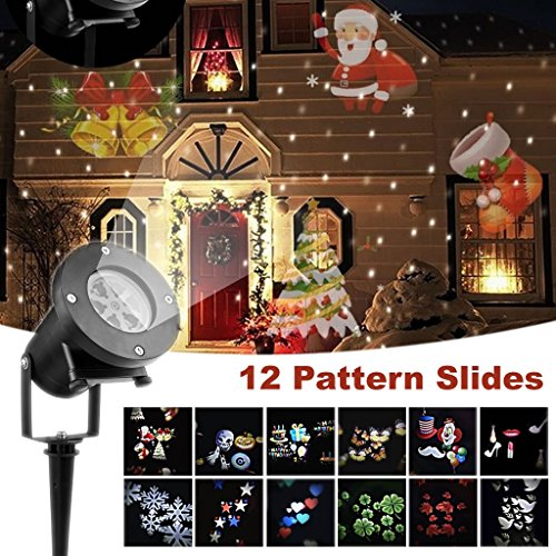 Christmas Projector Lights,12 PCS Slides Outdoor Projection Lights,Waterproof Landscape LED Lamp for Holiday Party Birthday Halloween Easter Wedding Decoration by jarvan