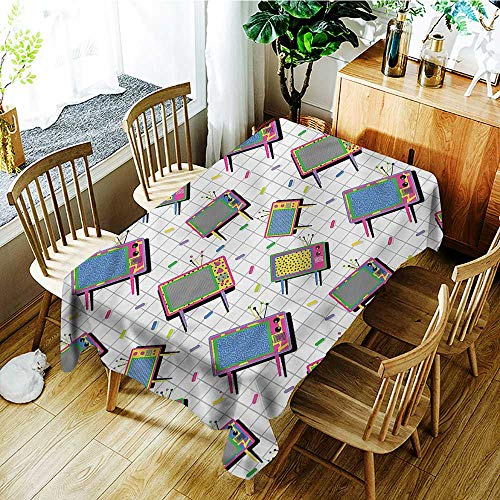 """PriceTextile Vintage,Fitted tablecloths Memphis Style Funny 80s TV 70""""x 90"""" Tablecloths for Sale"""