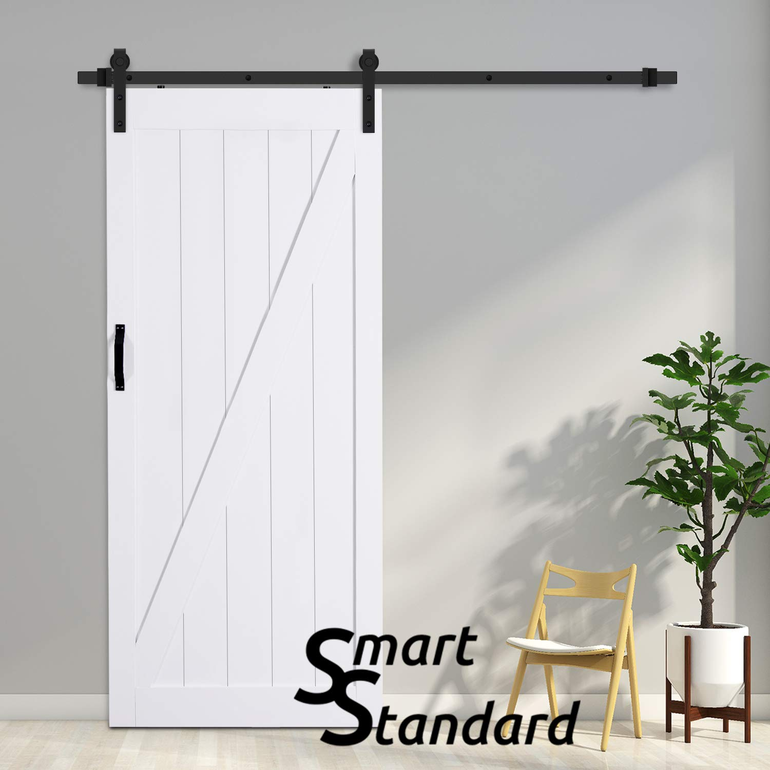 SMARTSTANDARD 36in x 84in Sliding Barn Door with 6.6ft BarnDoor Hardware Kit & Handle, Pre-Drilled Ready to Assemble Wood Slab Covered with Water-Proof PVC Surface (White Z-Frame Panel),