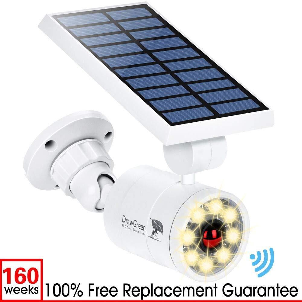 Solar Motion Sensor Lights Outdoor Aluminum,1400LM Warm White LED Spotlight 9-Watt(130W Equ.) Solar Security Lights for Garden Driveway Patio, 2-Year Battery Life,160-Week 100% Replacement Guarantee by DrawGreen
