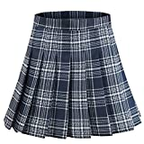 Alliico Girls Red Pink Short Pleated Plaid Skirt School Tennis Tartan Skirts (S(waistline24.4inch), Navy Blue)