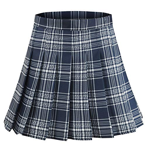 Alliico Girls Red Pink Short Pleated Plaid Skirt School Tennis Tartan Skirts (XL(waistline29.9inch), Navy Blue)