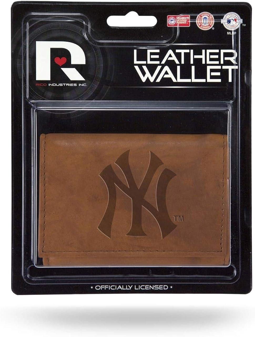 Rico Industries Yankees Laser Engraved Brown Billfold Wallet